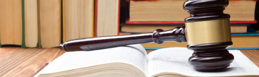 Judge's gavel sits on an open law book